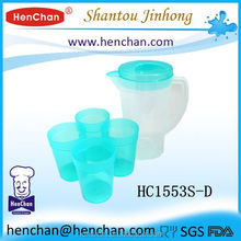 Wholesale 1.8L large plastic water jug with 4 cups for promotion BPA free with cheap price