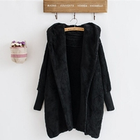 Blank Black Fleece Female Cardigan without Buttons,Cardigan Hooded Jacket