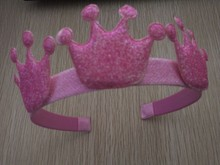 Party Favors Glitter Fabric Crown Hairband Kids Hair Accessories