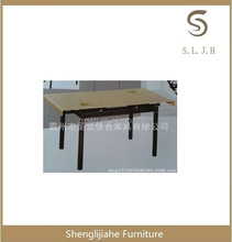 Modern extendable round dining table, glass furniture, dining room furniture Guangzhou