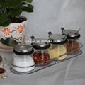 4 gläser glas Geschmack topf würze flasche spice box deckel aus edelstahl