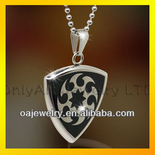 black enamel and shiny polished stainless or titanium pendant for men or women