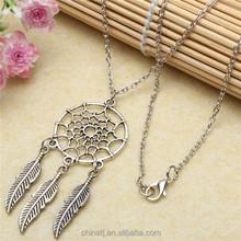 New Design Dream Catcher Charm Silver Feather Chain Pendant Necklaces