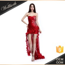 Sexy beaded sleeveless front short long back long red cocktail dress