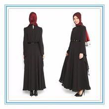 Elegant cheap black chiffon Long sleeve muslim evening dress 2015(MUSL-1001)