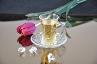mini small clear glass tea coffee cup and saucer set
