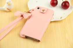Fancy PU leather phone case for iphone 4S with hand rope
