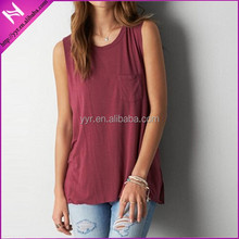 2015 newest fashion ladies AEO non-sleeves SOFT & SEXY POCKET MUSCLE T-SHIRT