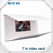 a4 7 tarjeta de tamaño pulgadas de papel de la tarjeta de vídeo de la boda tft digital de video de la tarjeta