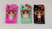 Lovely 3D Cartoon Silicone Soft Mobile Telephone Case Cover for iphone 4S 5C 5S Mobile Phone
