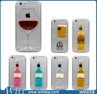 Hard Plastic Clear Cocktail Case for iPhone 6, Unique 3D Bottle Wine Cup Style Phone Accessory