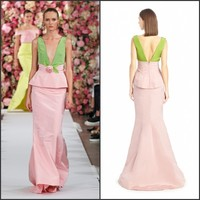 New Summer Sleeveless V Neck Sash Flower Sheath Green And Pink Satin Two Color Evening Dress