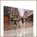 Pintado à mão venda quente abstrato moderno paris cena de rua pintura a óleo para decoração de