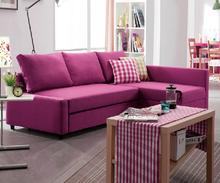 High quality l shape sofa cum bed rosy fabric sofa bed