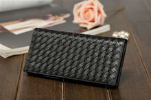 Hot sell high quality black lady's leather fashion wallet female wallet dropship paypal