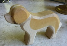 Hand painted Waldorf inspired wooden toy dog