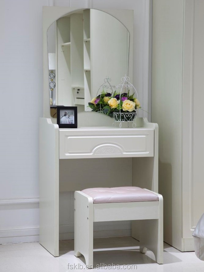 Discount Bedroom Furniture Wooden Dressing Table with Mirror and Stool