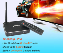Hot Selling Full HD Media Player with 2.0MP Camera Quad Core M8S Android TV Box RK3288 with HD 4K