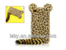 Cute 3D Plush Tail Leopard TPU Case Cover Skin for iPhone 4 4S Yellow