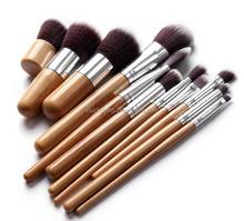 11 pcs Hight Quality Bamboo Cosmetic Makeup Brush Set with Bag