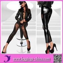 2015(CF1185)Mesh Ripple Design Faux Leather Women In Black Leggings Pictures