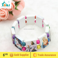 Wood bracelet with religious pictures