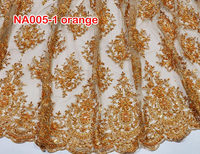 New arrivals NA005-1 gold African french lace fabric/ net lace with beads