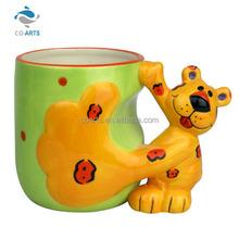 Top quality 3D animal shaped handmade ceramic coffee cup mug