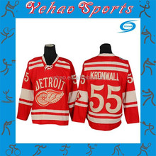Quality custom made sublimated ice hockey jersey red color