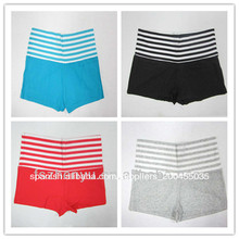Pantalones cortos de mujer caliente de hilados de algodón estilo de la moda italiana franja azul teñido de verano deportivos
