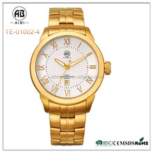Full stainless steel band custom logo big gold color plated low moq watch