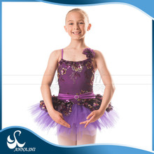 High quality Stretch Wholesale kid girl purple ballet tutu dress costume