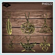 PH0122 Plain Bronze Chain Pendant Necklace Men's necklaces Dargon Compass Leave Key Skull Gun laugh birds pendant necklace