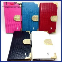 Lizard leather PU case for iphone mobile phone accessories factory in china wholesale leather flip case for iphone 5s