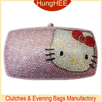 Fashion Wedding Diamond Crystal Handbag pink Hello Kitty Full Crystal Evening Bags