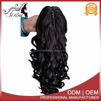 Heat resistant kanekalon ponytail fake hair extensions, wholesale synthetic fake hair