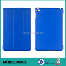 Brand new ultra thin smart leather back cover case for iPad mini 4 ,Back PC with Rubber coating