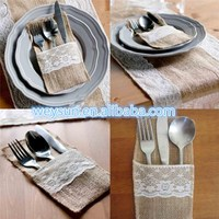 "500pcs Vintage 4""x8"" Hessian Burlap Lace Wedding Tableware Pouch Cutlery Holder Decorations Favor DHL Freeshipping"