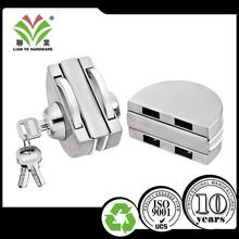 China commercial sliding frameless tempered glass door hook key lock