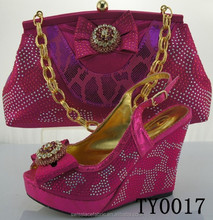 Amazing price shoe and bag for women high quality matching italian shoes and bag set heel hight 12cm