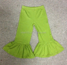 Hot sale classical Solid color 100% cotton girls ruffle pants
