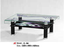 Four black legs two layer glass coffee end table factory price