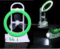 3 in 1 electirc fan light rechargeable electric fan with flashlight , desk lamp