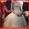 AM0490 Real picture lace long sleeve ball gown wedding dresses