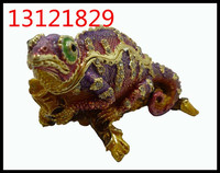 Fashion Metal Alloy Pewter Swaroski Rhinstone Crystal Enamel Lizard Trinket Jewelry Box MX29