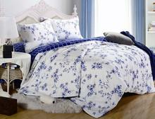 Wholesale modern 4pcs blue and White cotton bedding set,hotel summer bedclothes duvet/quilt/comforter cover set