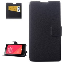 Silk Texture Horizontal Flip Leather Case Cover with Card Slots & Holder for Xiaomi Redmi 1s(Black)