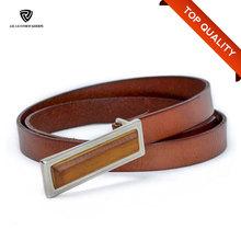 20mm Full Grain Vegetable Tanned Leather Rectangle Wood Buckle Belt