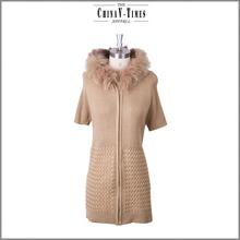 Cute customized elegant fur coat woman, Thick warm sweater fur coat