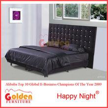 Baratos al por mayor negro de cuero del hotel cama m2793#